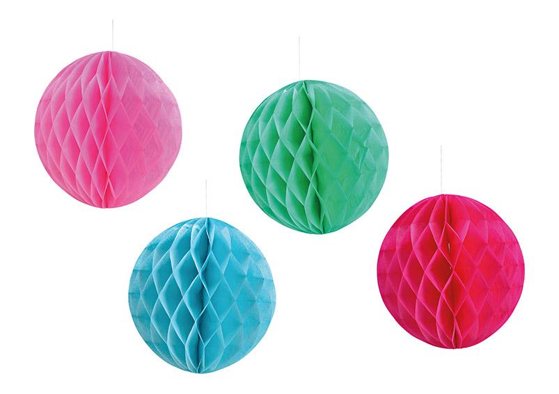 závěsná papírová koule HONEYCOMB ⌀35 cm - 4 barvy