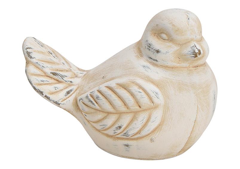 Bird clay white 15x11x11cm