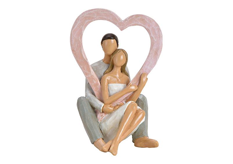 zamilovaný pár se srdcem 1x16x10 cm, polyresin