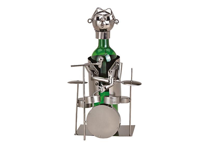 kovový stojan na vínovou láhev DRUMMER 18x23x15 cm