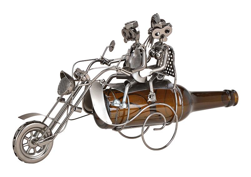 kovový stojan na pivní láhev MOTORCYCLIST 26x20x10 cm
