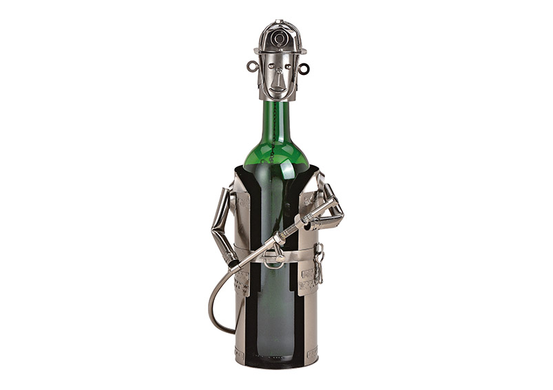 kovový stojan na vínovou láhev FIREFIGHTER 14x24x15 cm