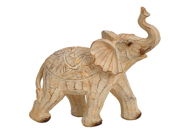 Elephant poly, beige 19x18x7cm