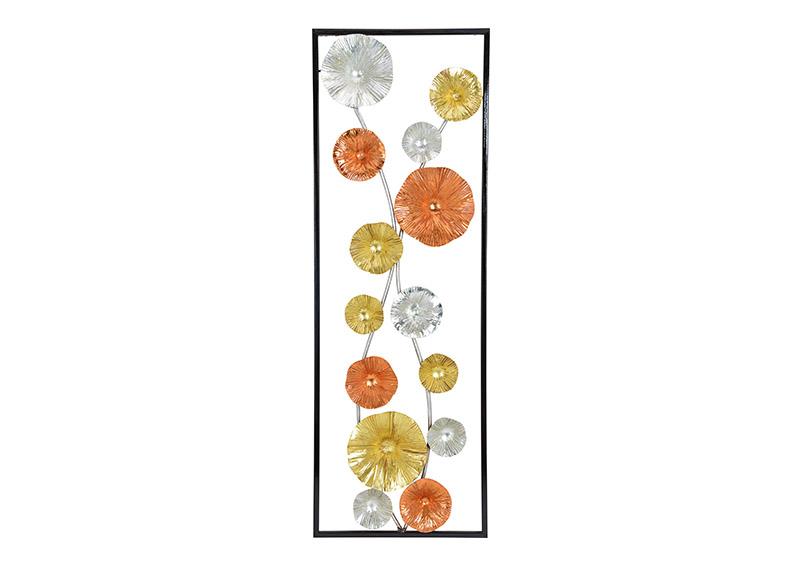 obraz 3D květiny 32x92x4 cm, kov
