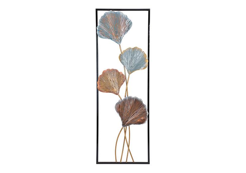 Mural 3D leaves metall black/bronze/turqouise 32x92x4cm