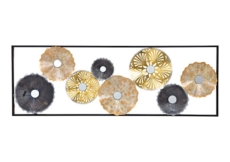 obraz 3D květiny se zrcátkem 32x92x4 cm, kov