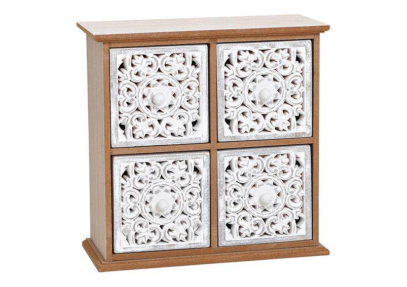 mini skříňka se 4 šuplíky FLOWER 24x24x11 cm, dřevo