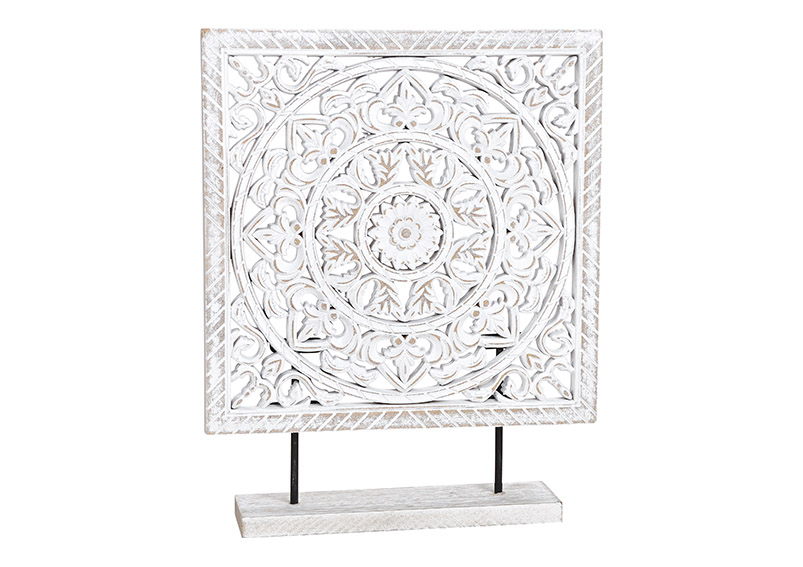 mandala ve čtverci na stojanu 29x37x7 cm, dřevo