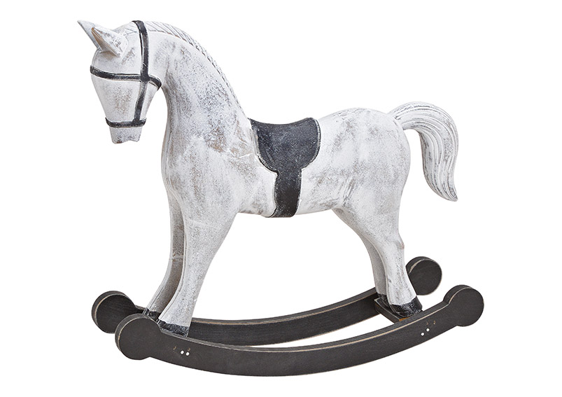 Rocking horse MDF white 49x40x12cm