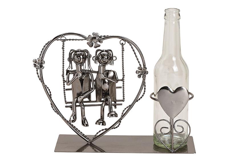 kovový stojan na vínovou láhev COUPLE SITTING ON HEART SWING 29x21x9 cm
