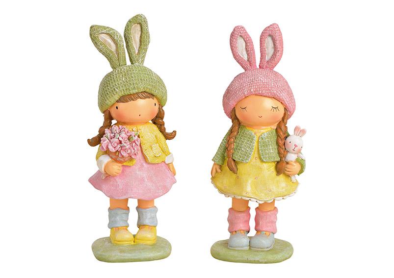 děvčátko s králičím kloboučkem 8x20x7 cm, polyresin - 2 druhy