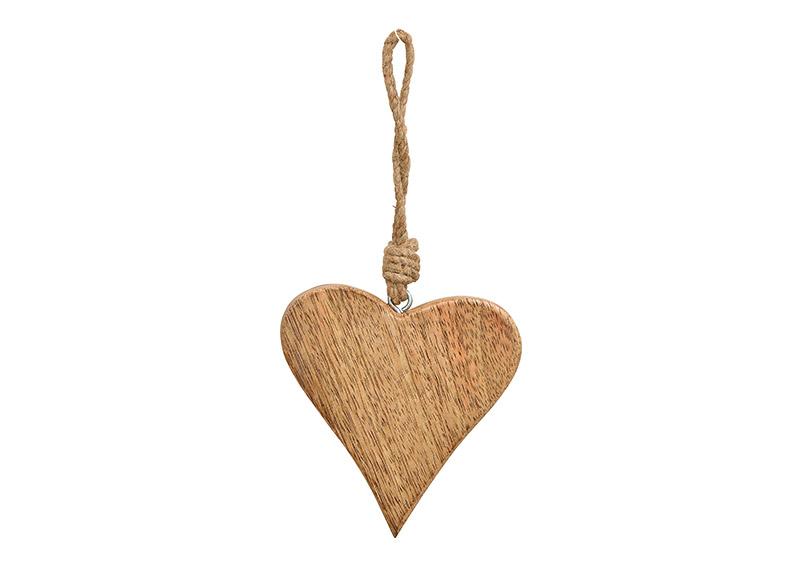 závěsné srdíčko z mangového dřeva 9x9x1 cm