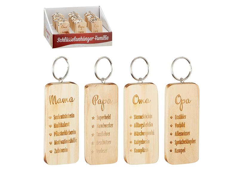 čtyři přívěšky na klíče PAPA/MAMA/OMA/OPA 8x4 cm, dřevo a kov