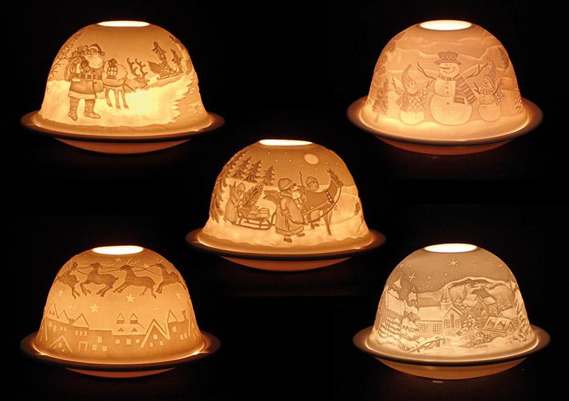 porcelánová lucerna na čajovou svíčku WINTER SCENES 8x8x7 cm - 5 druhů