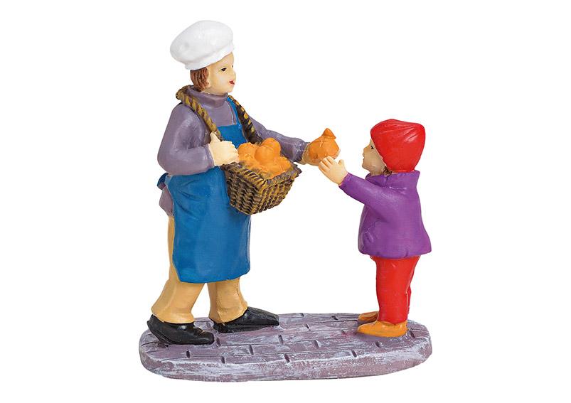 pekař s holčičkou 6x6x3 cm, polyresin