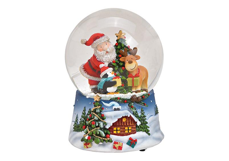 music box sněžítko SANTA WITH PINGUINE 10x14x10 cm, polyresin a sklo