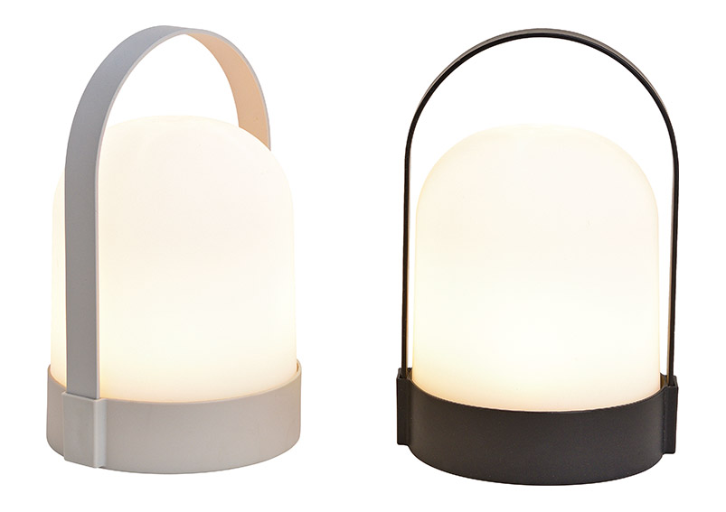 Table lamp, 4 led, warmwhite, black, grey, 2 asst. 13x22x12cm