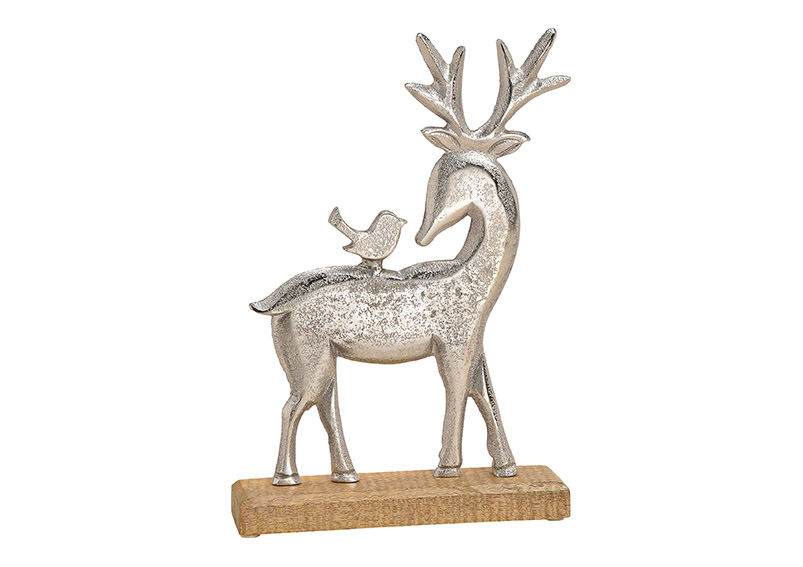 jelen 20x30x5 cm, kov a mangové dřevo