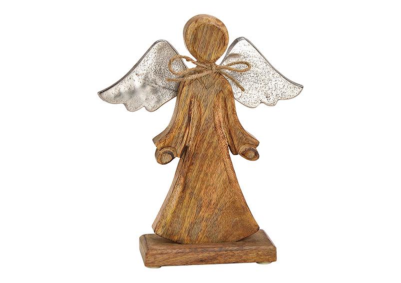 anděl s kovovými křídly 21x25x6 cm, mangové dřevo