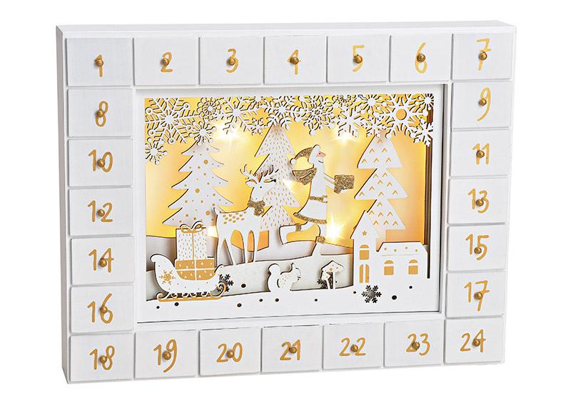 adventní kalendář s LED osvětlením 35x27x6 cm, dřevo