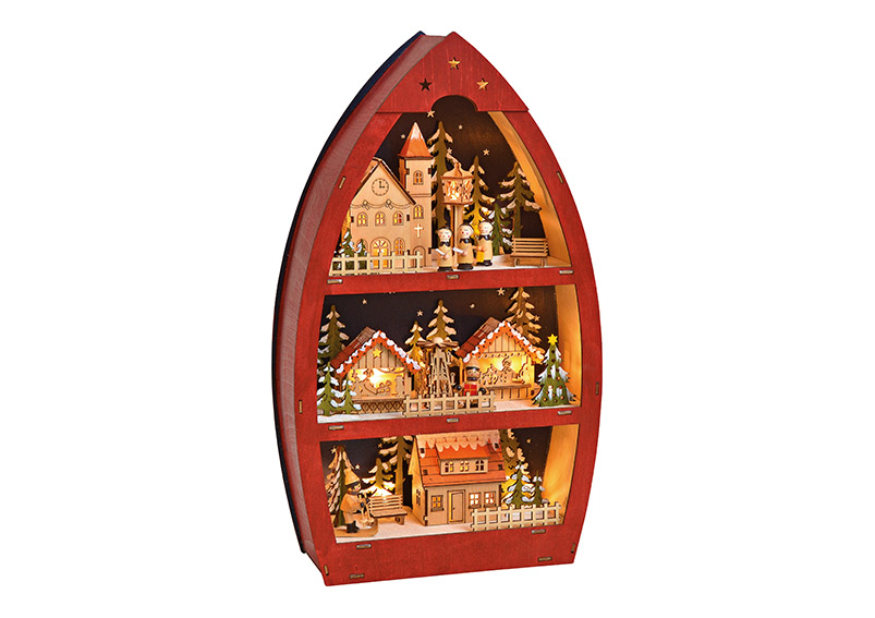 Winter Scene 3-floors with LED red wood 26x45x9cm