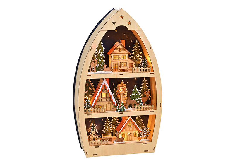 Winter sceme 3-floors with LED Light nature wood 26x45x9cm