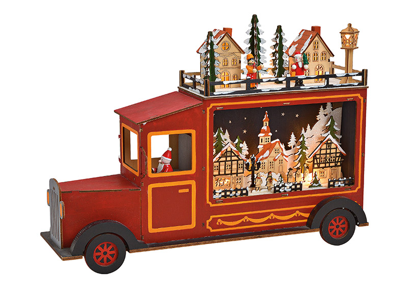 Winter Scene Truck with LED, wood red 45x33x12cm