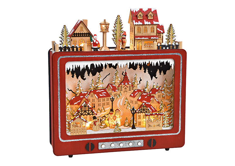 Winter Scene TV with LED wood red 38x40x10cm