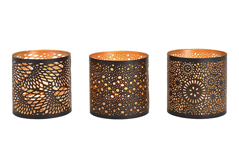 tři svícny na čajovou svíčku BLACK GOLD 12x13x12 cm, kov
