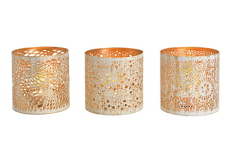 tři svícny na čajovou svíčku WHITE GOLD 12x13x12 cm, kov