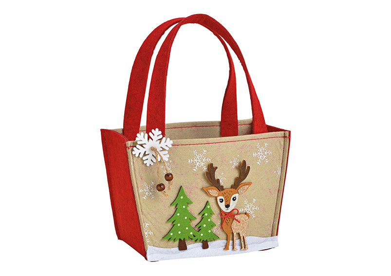 Bambi bag Jute/Plastic/synthetic fur brown 19x13x10cm