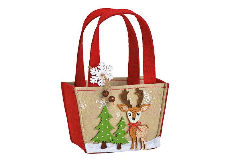 Bambi bag felt brown 16x11x8cm
