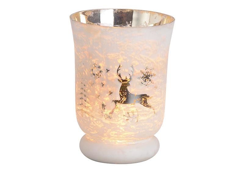 Windlight Christmas glass white 10x15x10cm