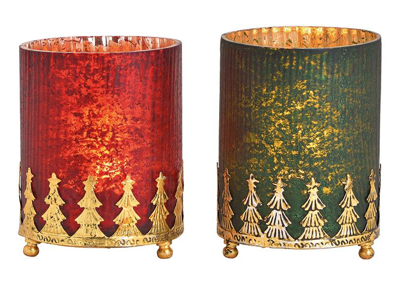 Windlight on metall base glass red, green 2-Asst. 10x14x10cm