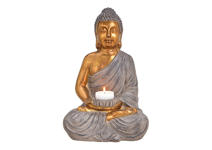 Buddha Candle holder Poly brown 28x41x22cm