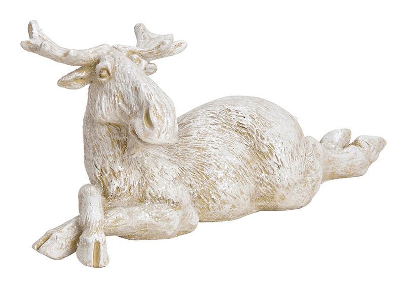 Elk lying Poly White glitter 25x11x9cm