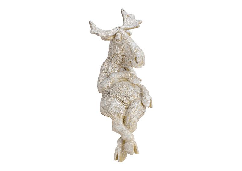 Elk sitting on corner Poly white with glitter 9x24x12cm