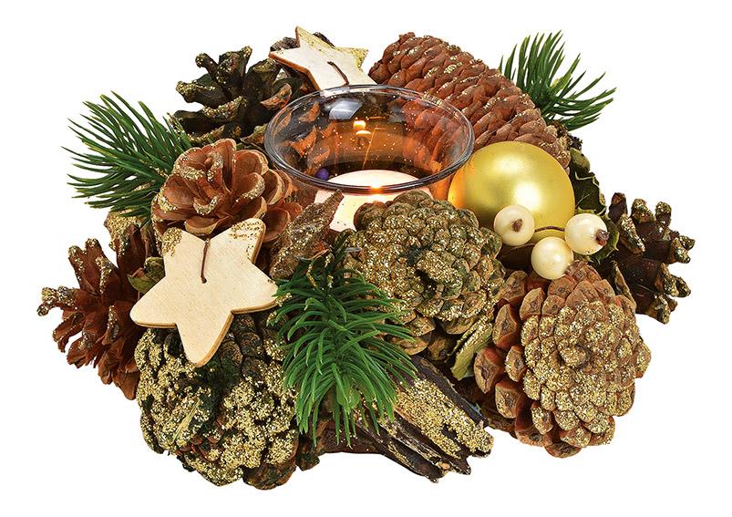 Windlight wreath wood, plastic brown/gold 20x9x20cm