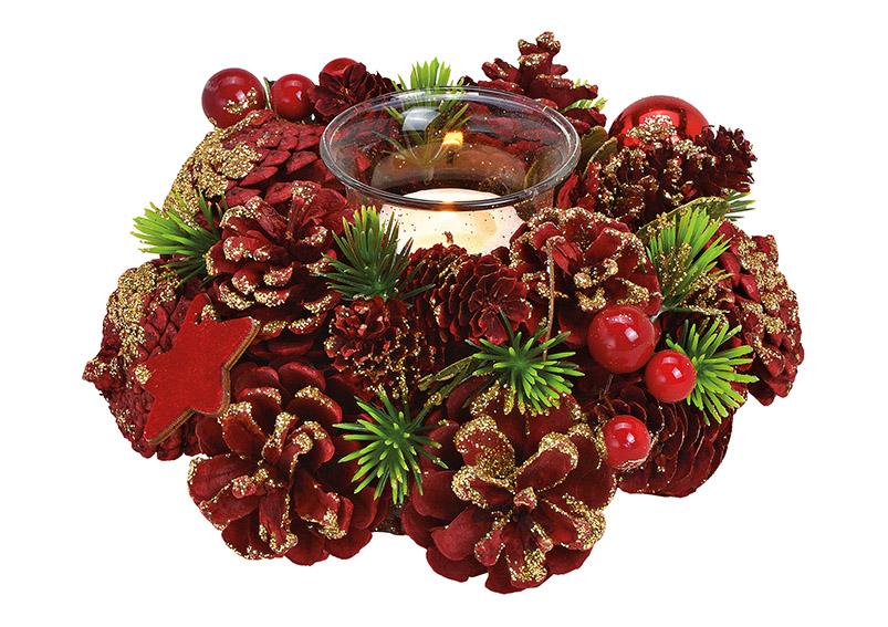 Windlight wreath wood, plastic red/gold 20x9x20cm
