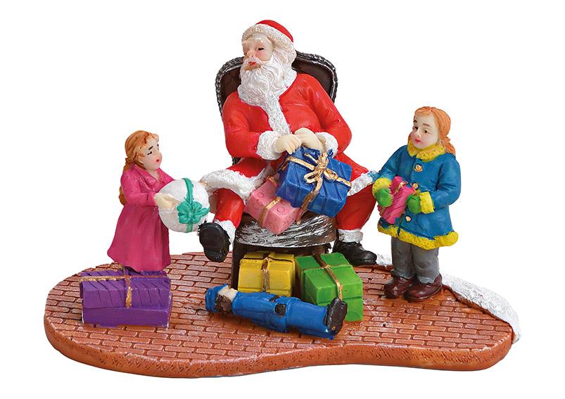 Santa s dětmi 11x7x6 cm, polyresin