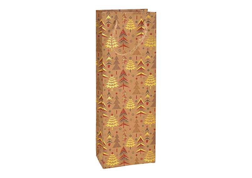 dárková taška na láhev WINTER FOREST 12x35x9 cm