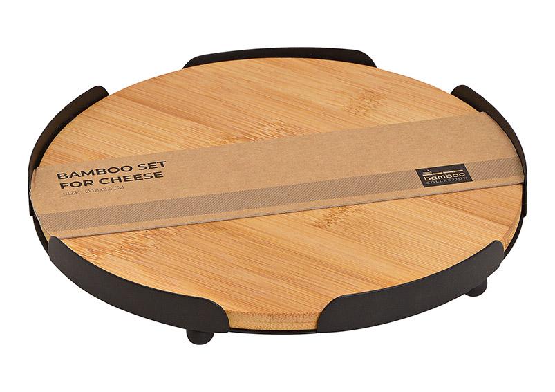 tác  ⌀ 18cm bambusový s kovovém rámu