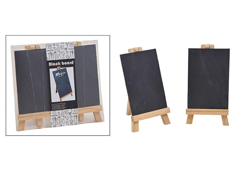 Memoboard Set of 2 slate, 10x15cm wood black 21x20x3cm