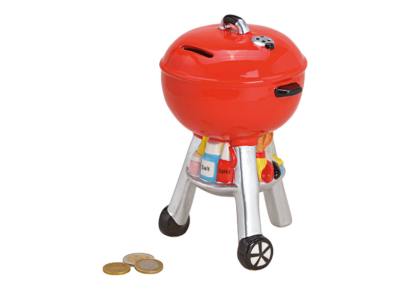 Money box kettle grill ceramic red 13x20x11cm