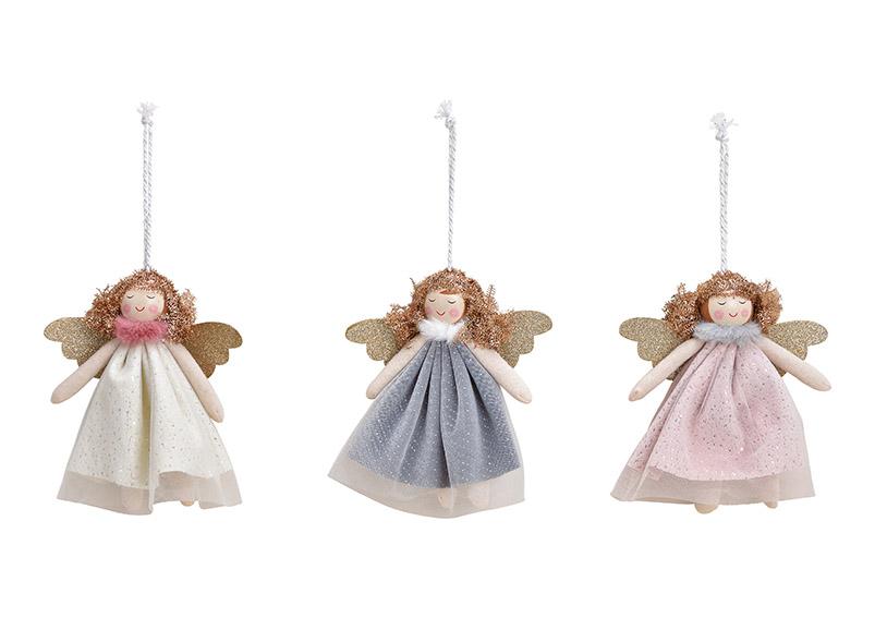závěsná andělka 13x15x3 cm, textil - 3 druhy