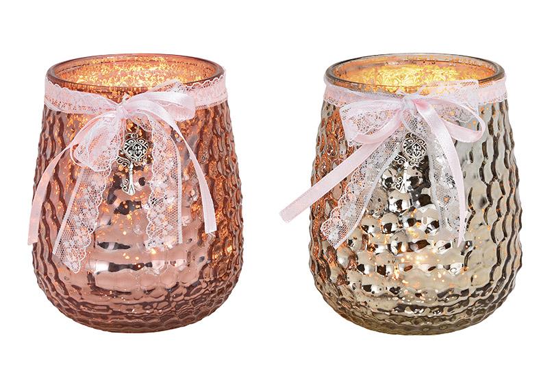 Windlight glass champagner/pink 2-Asst. 11x14x11cm