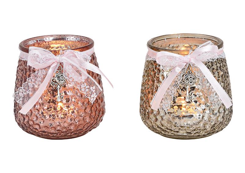 Windlight glass champagner/pink 2-Asst. 9x11x9cm