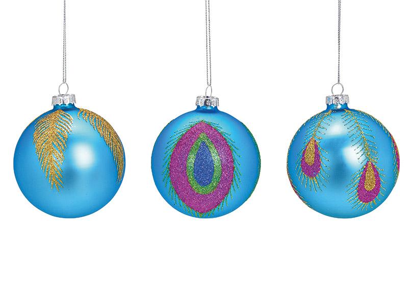 vánoční ozdoba FEATHER ⌀ 8 cm, sklo - 3 druhy