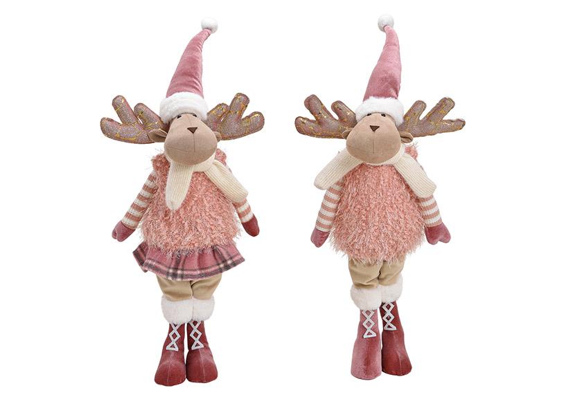 Elk textile pink/rose 2-Asst. 24x68x20cm