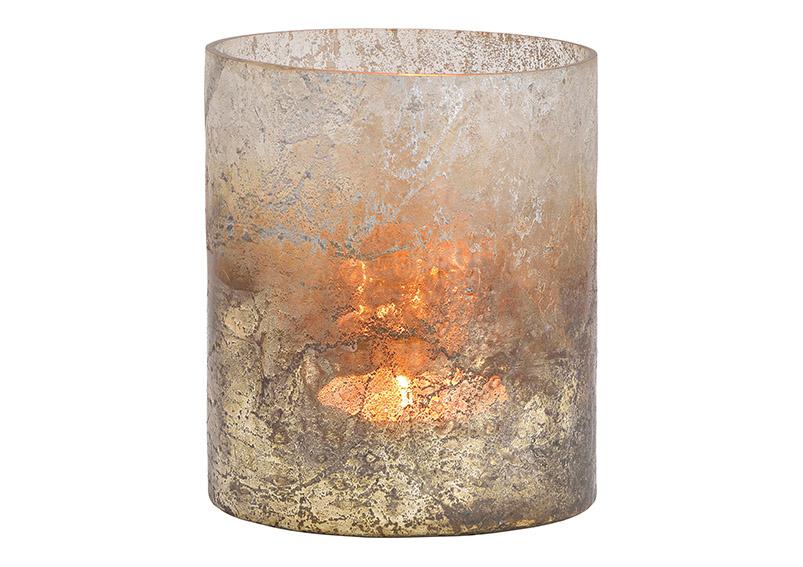 Windlight glass grey 12x14x12cm